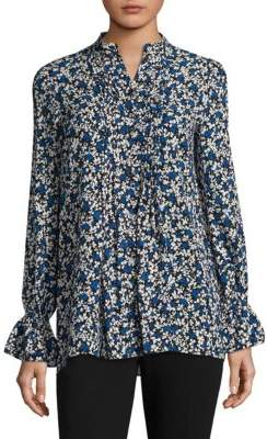 Michael Kors Bell-Sleeve Silk Floral Top