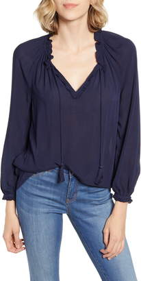Lucky Brand Giselle Ruffle Detail Peasant Blouse
