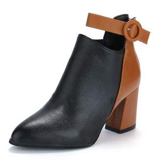 CYBLING Women's Two-Tone Chunky High Heel Ankle Booties Buckle Strap Pointed Toe Back Zipper Booties