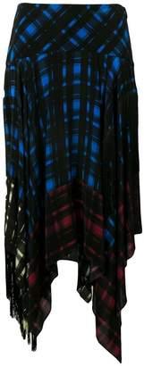 Preen Line asymmetric checked skirt