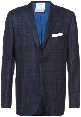 Kiton plaid print suit jacket