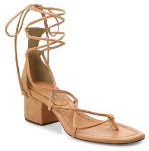 Michael Kors Collection Ayers Suede Lace-Up Block Heel Sandals $350 thestylecure.com