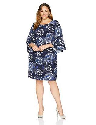 Sandra Darren Women's 1 PC Plus Size 3/4 Bell Sleeve Printed ITY Puff Shift Dress