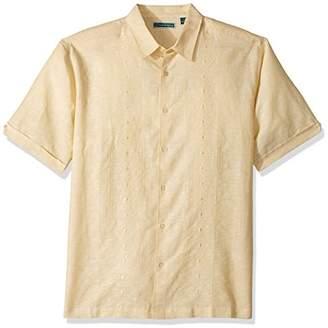 Cubavera Men's Short-Sleeve Yarn-Dye Shirt with Embroidery