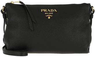 Prada Bandoliera Crossbody Bag Calf Leather Black