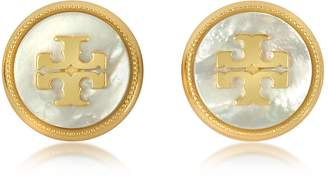 Tory Burch Mother of Pearl and Vintage Goldtone Brass Stud Earrings