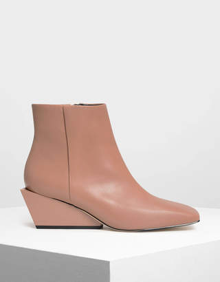 Charles & Keith Square Toe Wedge Boots