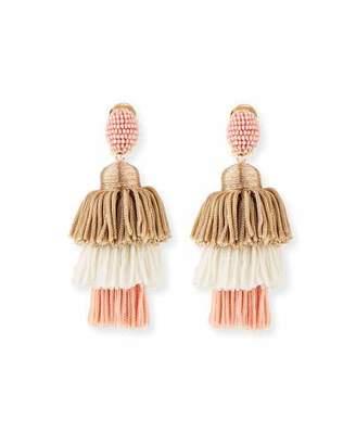 Oscar de la Renta Long Tiered Silk Tassel Clip-On Earrings, Pink