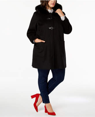 Forecaster Plus Size Fur-Trim Walker Coat