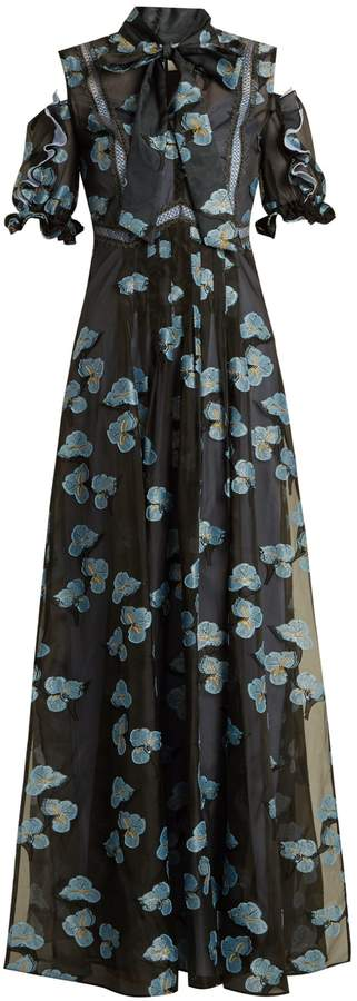 SELF-PORTRAIT Open-shoulder floral fil coupé organza dress