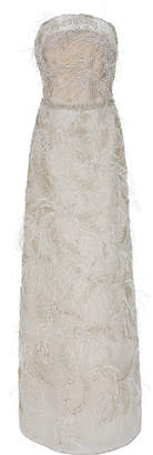 Marchesa Crystal-Embellished Feather-Trimmed Organza Gown