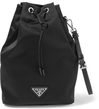 Prada - Vela Leather-trimmed Shell Cosmetics Case - Black $295 thestylecure.com