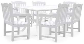 Vifah Bradley Rectangular and Curved Leg Table & Arm Chair Outdoor Wood 7pc Dining Set - White