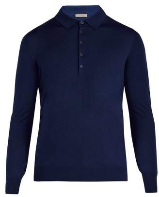Bottega Veneta - Long Sleeved Wool Polo Shirt - Mens - Blue