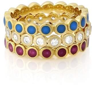 Isharya Multicolor Enamel Dot Stackable Ring