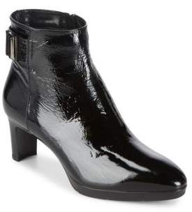 Aquatalia Daniella Stacked Heel Leather Booties