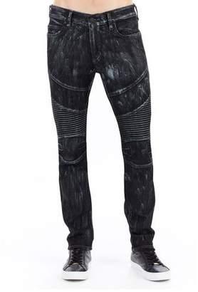 True Religion Rocco Skinny Moto Jeans w/ Platinum-Tone Details