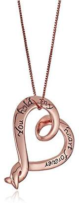 """Sterling Silver with Flashed """"You Hold My Heart Forever"""" Open Heart Pendant Necklace"""