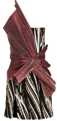 Halpern Asymmetric Sequin Embellished Strapless Mini Dress - Womens - Pink Multi