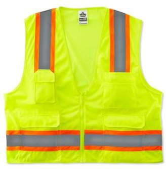 GloWear 8248Z ANSI Two-Tone Surveyors Reflective Safety Vest, Lime, Large/X-Large, Solid front, mesh back, zipper closure. Two-tone design and lots.., By Ergodyne