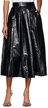 AKIRA NAKA Women's Coated Cotton Pleated Skirt - Black