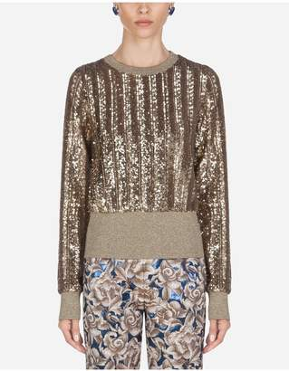 Dolce & Gabbana Silk Crew Neck Sweater With Micro Sequins