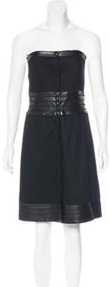 Karl Lagerfeld Leather-Trimmed Wool Dress