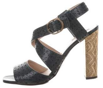 Dries Van Noten Printed Ankle Strap Sandals