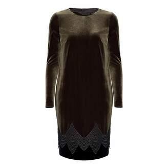 Nissa Khaki Midi Velvet Dress