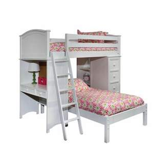LOFT Bolton Furniture Cooley Sleep-Study-Storage Bed with Lower Platform Bed, White
