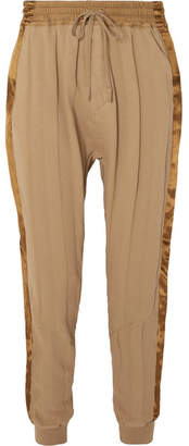 Haider Ackermann Striped Satin-trimmed Cotton-jersey Track Pants - Light brown