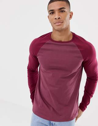 Asos DESIGN long sleeve t-shirt with contrast raglan in purple