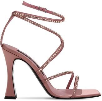 Les Petits Joueurs 100mm Camelia Satin Sandals W/ Crystals
