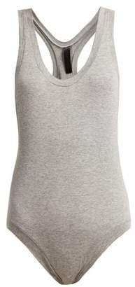 Norma Kamali Racer Back Cotton Bodysuit - Womens - Grey