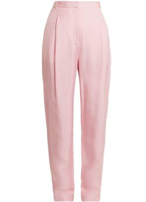 Tibi Sculpted high-rise pleated faille trousers