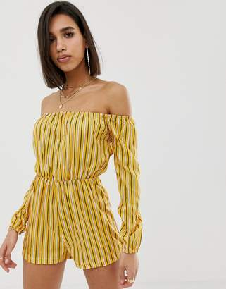 Missguided Stripe Bardot Romper