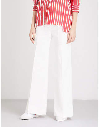 Sandro Flared high-rise cotton-twill trousers