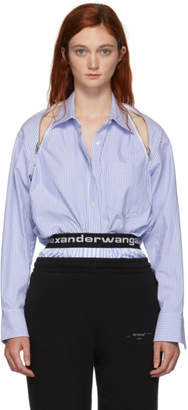 Alexander Wang Blue Striped Shoulder Zipper Shirt