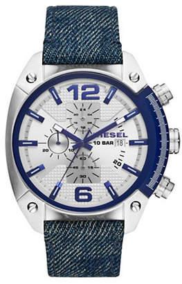 Diesel Overflow Chronograph Stainless Steel and Denim-Strap Watch