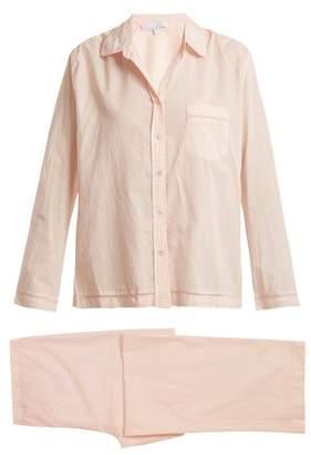 Pour Les Femmes - Jour echelle Trimmed Cotton Pyjama Set - Womens - Light Pink