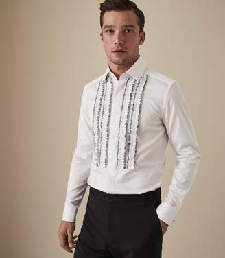 Reiss PRINCE RUFFLE FRONT DRESS SHIRT White
