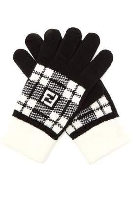 Fendi Ff Tartan Wool Gloves - Mens - Black White