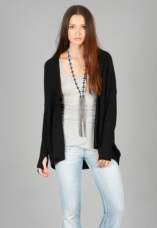 Gold Hawk Oversized Wedge Shrug in Black -