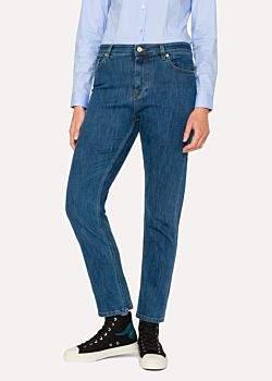 Women's Mid-Wash Girlfriend-Fit Jeans