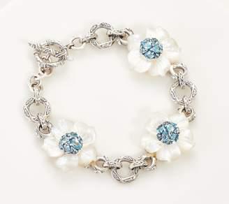 Stephen Dweck Sterling Silver Gemstone Flower Bracelet