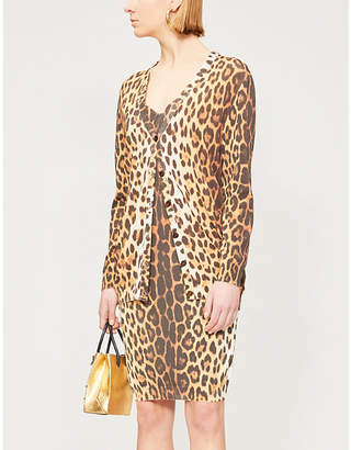 Moschino Leopard-print knitted cardigan