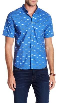 PUBLIC ART Short Sleeve Swim With Sharks Print Shirt