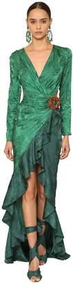 Raisa & Vanessa Embellished & Draped Jacquard Maxi Dress