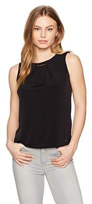 Calvin Klein Women's Petite Pleat Neck Top with Keyhole and Hardware