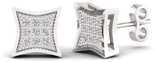 Imperial Star 1/20 Ct TDW. Diamond 14K White Gold Cluster Stud Earrings (I-J, I2)